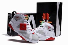 Air Jordan Shoes 7 White Grey Red a1fb2f226