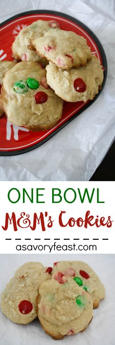 A simple sugar cookie with delicious bites of M&M's candies. Made in one bowl so clean-up is easy! This sweet treat can easily be customized with seasonal M&M's for any holiday or occasion.