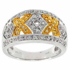 0.50 Cttw IGL Certified G SI Round Diamonds Cocktail Ring 14K Two Tone Gold #Cocktail #IGL #Certified #Ring #14K #TwoTone #Gold #NewYear #Valentine #Gift #Sale