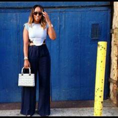 Barbara Bui top , Ferragamo pants, Dior bag