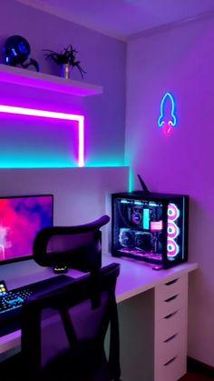 Gaming Desk Setup, Computer Gaming Room, Best Gaming Setup, Gamer Setup, Computer Setup, Pc Setup, Cool Gaming Setups, Gaming Rooms, Pc Desk