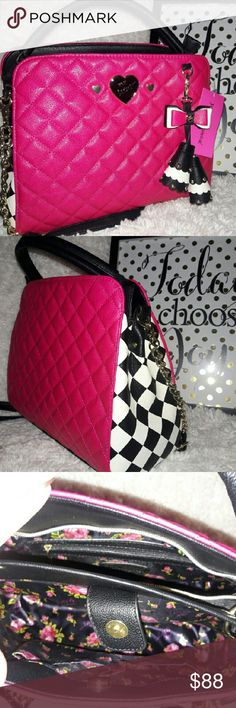 """🌷 Betsey Johnson Checkerboard Bag 🌷 NWT. Gorgeous Betsey Johnson bag with her signature quilted pattern. Fuscia on front and back, with a black & white checkerboard pattern on sides. Has an adorable double-tassle in black & white that includes a bow. Exterior is man-made, interior has flower satin lining. Interior has 2 compartments, one has 2 slip pockets and a magnetic closure. Other has zippered pocket and a zipper closure. Dimensions are approximately 11"""" H x 11"""" W x 6"""" D. Short handle…"""