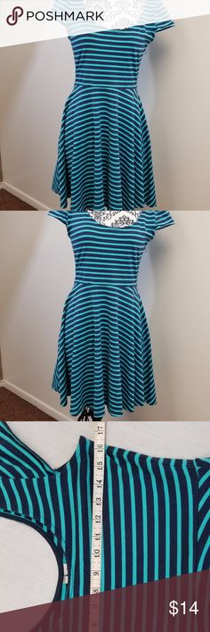 """3/$18 Lauren Conrad Scoop Neck Blue Striped Dress Lauren Conrad Scoop Neck Blue Striped Dress Cotton Spandex Blend Across bust is 16"""" and pit to bottom of dress is approximately 26"""". LC Lauren Conrad Dresses Midi"""
