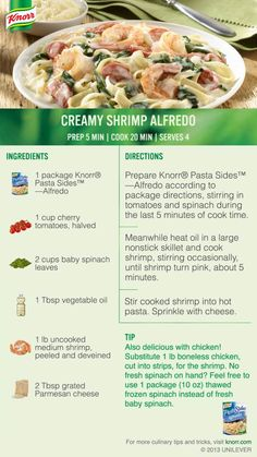 Knorr Pasta Sides Alfredo becomes a main dish when you add shrimp, tomatoes and spinach to create Creamy Shrimp Alfredo. #Delicious #Dinner #Recipe