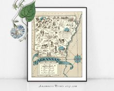 VINTAGE AND CONTEMPORARY DECOR BY ANAMNESIS PRINTS  This series of whimsical, finely detailed picture maps is from a rare school geography book published in 1931. The illustrations include pictographs that show local activities, industries and topography. The colors, shades of sepia and black tones are rich and inviting making each print a lovely piece of historical art. Each map embodies the wonderful old patina that comes with age...striking vintage home decor for many gift occasions and…