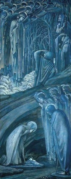 Sir Edward Coley Burne-Jones, Nativity, 1887  Gouache and gold paint on white paper