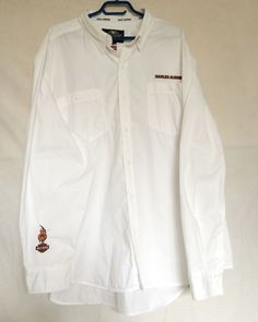 Mens Harley-Davidson Motorcycle Shirt 2XL White Button-Down Long Sleeves | eBay
