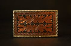 Vintage Southwestern Copper Tooled Belt Buckle by CheyenneKansas, $15.00