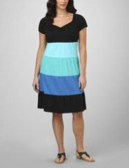 A thoroughly modern colorblock pattern sets a lively tone on this easy-wearing knit dress. A versatile look for work or a night on the town. V-neckline is shirred and shows off your curves. Short sleeves. Hits below the knees. Available in misses sizes and plus sizes. fashionbug.com