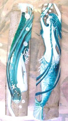 Pair of Fantasy Mermaids Hand Painted on Driftwood Bamboo- Beach Decor- Coastal Decor Mermaid Bathroom Decor, Mermaid Wall Decor, Mermaid Beach, Mermaid Art, Cedar Paneling, Fantasy Mermaids, Back Painting, Coastal Decor, Coastal Style