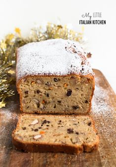 Christmas spiced loaf cake with yogurt, olive oil, nuts and chocolate chips