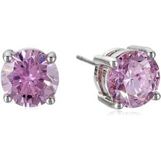 "CZ by Kenneth Jay Lane ""Pink"" Cubic Zirconia Stud Earrings, 4 cttw ($13) ❤ liked on Polyvore featuring jewelry, earrings, accessories, studs, cz jewellery, earring jewelry, pink cubic zirconia earrings, pink earrings and stud earrings"
