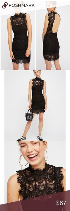 """Free People Daydreams Bodycon Lace backless Dress Stun everyone around you whether you're coming or going in this Free People black lace """"Daydreams"""" bodycon dress in size Large (10-12). New with Tags. All-over lace that is so comfortable sexy it's crazy!  High neck is subtlety sexy, but then turn around and catch all that seductive back! 2 button closure high at nape. Eyelash lace trim. Can dress up or down & you still look amazing! Flat lay measurements: 38"""" long; 16"""" pit to pit; 14"""" waist…"""