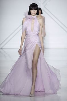Ralph & Russo Spring 2017 Couture Fashion Show Ralph & Russo Spring 2017 Couture: Feminine pale purple gown with a high neckline, key hole, off shoulder detail, and slit … Fashion 2017, Runway Fashion, Fashion Show, Fashion Dresses, Fashion Design, Paris Fashion, Fashion Clothes, Fashion Trends, Couture Mode