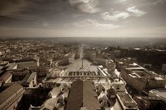 View of Rome from the Dome of St. Peter's Basilica.