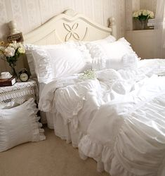 Luxury white lace ruffle bedding set,twin full queen king cotton girl,french princess wed home textile bedspread quilt cover-inBedding Sets from Home & Garden on Aliexpress.com | Alibaba Group