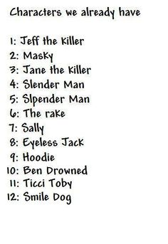 creepypasta characters names list - Google Search