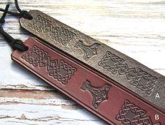 Vikings Inspired Leather Bookmark Mjolnir Thors Hammer