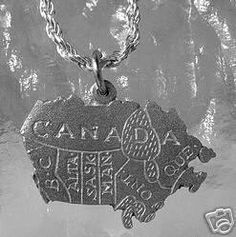 map of canada sterling silver 925 charm pendant Real Sterling silver 925 pendant Charm jewelry