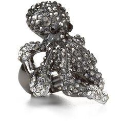 Aqua Octopus Back Crystal Ring. I LOVE THIS!