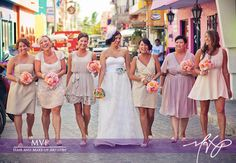 bridesmaids in all different style dresses