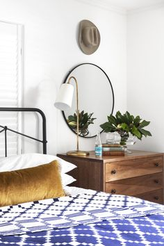 Spaces — Jacqueline Marque Photography Mirror Behind Nightstand, Floating Nightstand, White Coverlet, Round Mirrors, Weaving Techniques, Weekend Vibes, Bedding Collections, Navy And White, Bedroom