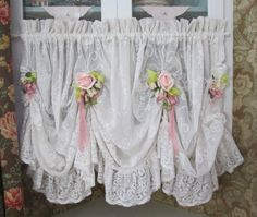 shabby chic ruffled lace valance swag curtain by TheGirlyCottage