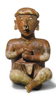Nayarit, Mexico, Proto-Classic, 100 BC - 250 AD FIGURE OF A WARRIOR HOLDING A RITUAL BALL terracotta 48.3 by 27.9cm