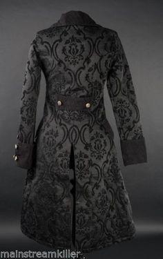 Damen-Mantel-Jacke-Pirate-Princess-Coat-Brokat-Victorian-Gothic-Cute-RQ-Black