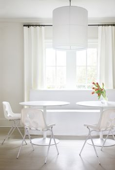 All-white #breakfast room with white #window panels