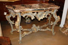 18th Century Venetian Rococo Pale Blue Polychrome and Parcel Gilt Console   From a unique collection of antique and modern console tables at https://www.1stdibs.com/furniture/tables/console-tables/