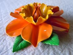 Vintage Brooch Flower Power Pin 1960 Orange and Yellow