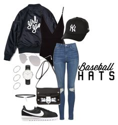 """Baseballhat look*"" by blendingtwostyles ❤ liked on Polyvore featuring Osklen, Topshop, NIKE, Mihara Yasuhiro, Daniel Wellington, With Love From CA, ASOS, New Era, baseballcap and baseballhats"