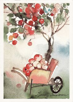 The wondrous season of fall and fresh apples. by Minna Immonen Watercolor Fruit, Watercolor Landscape, Watercolor And Ink, Watercolour Painting, Watercolours, Nature Illustration, Watercolor Illustration, Autumn Theme, Pictures To Paint