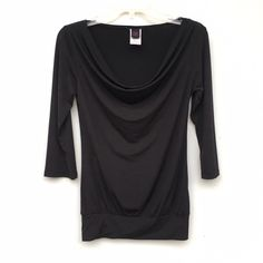 Black Cowl Neck Top Black cowl neck long sleeves top, in excellent condition. Fits extra small to medium. Tops