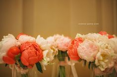 Peonies.  These colors.  If you get married in the rains of June Peonies are still in season #pickyourbattles