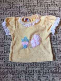 Vintage Carters 1979s Yellow Terry Cloth Elephant Appliqué Lace Baby Girls Top #Carters #Casual
