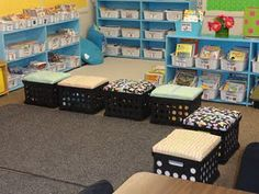I am soo making these for the entry way for the daycare kids to put thier shoes and bags...GREAT idea