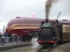 Here are two very different steam engines at Railfest. The little brown engine in the foreground . Palmerston and the Duchess of Hamilton Vintage Trains, National Railway Museum, Train Art, British Rail, Train Pictures, Train Engines, Steam Engine, Steam Locomotive, Train Tracks