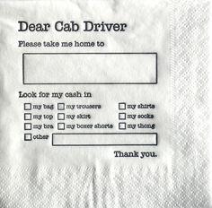 dear cab driver
