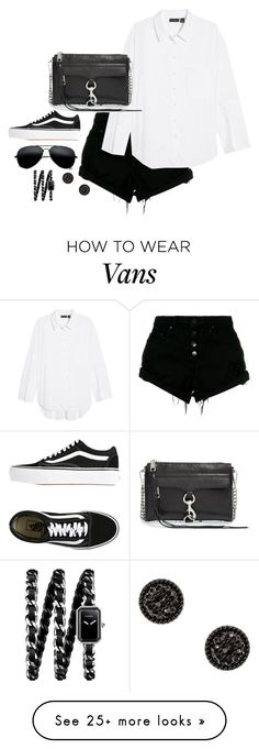 """Untitled #4672"" by magsmccray on Polyvore featuring Nobody Denim, Halogen, Rebecca Minkoff, Vans and Chanel"