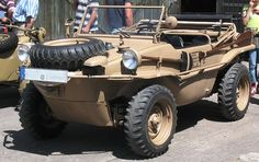 """VW Type 166, """"Schwimmwagen"""", 14000 were built for WW-II, only very few survived. It can climb mountains (4 wheel drive) or swim like a boat..."""