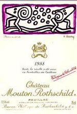 For lovers of Chateau Mouton Rothschild .... the background stories of the labels ... 1988 .... Keith Haring .... read more on .....(in Dutch but you can translate it on the site)