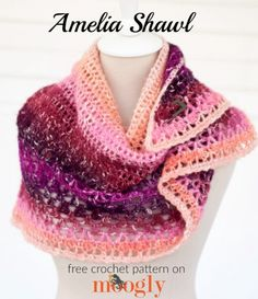Amelia Shawl: free crochet pattern on Mooglyblog.com, using just 1 skein of Lion Brand Shawl in a Ball!