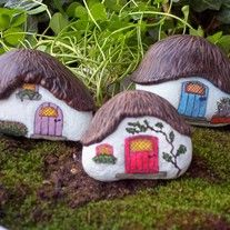 Bring a little whimsy into your home and garden with these hand painted Thatched Roof Cottages. A welcoming light glows in the windows & the little wooden doors look as if they might open any second. Window boxes full of herbs & flowers will make a cozy home for the wee folk. Embellished & hand...