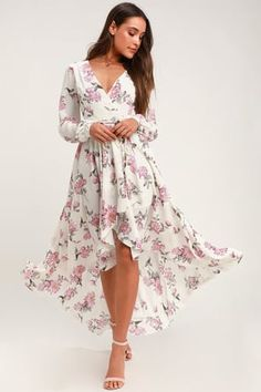 Float on a cloud of happiness in the Lulus Let It Be White Floral Print Wrap Maxi Dress! Floral chiffon high-low, wrap dress with long sleeves and ruffles. Chiffon Maxi Dress, Floral Chiffon, Maxi Wrap Dress, White Chiffon, Dress Lace, Cute Floral Dresses, Wrap Dress Floral, Trendy Dresses, Spring Formal Dresses