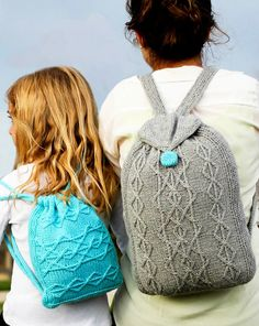 Free Knitting Patterns for Adventure Backpacks - Cabled rucksacks with roomy pockets, cinched by drawstrings. Designed by Cassidy Clark Knitting Patterns Free, Knit Patterns, Free Knitting, Knitting Projects, Crochet Projects, Bag Pattern Free, Backpack Pattern, Crochet Purses, Knitting Accessories