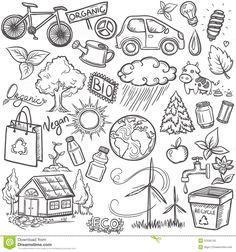 Doodles Eco Icon Set Stock Photos - Image: 37536743