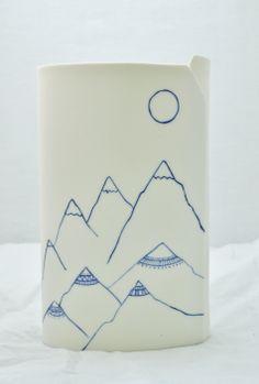 Mountains Vase. FH Porcelain. www.farahhernandez.co.za/www.facebook.com/FHPorcelain Porcelain, Container, Vase, Porcelain Ceramics, Flower Vases, Flowers Vase, Tableware, Jar