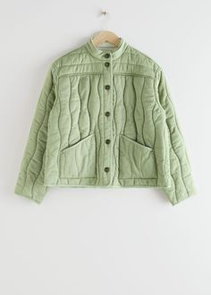 Reversible Lyocell Linen Quilted Jacket - Green White - Jackets - & Other Stories Couture, Look Man, Fashion Story, Green Jacket, Beautiful Outfits, Work Wear, White Jackets, Models, How To Wear